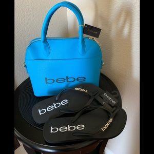Bebe satchel and flip flops